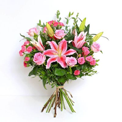 Candice bouquet have the elegant display of lilies and roses are fantastic modern bouquet that will express your emotions in style. Pink flowers are perfect for sending someone special a beautiful message of love.