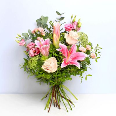 Surprise someone with these elegant displays of pink lilies and roses. Share this wonderful Darcy bouquet for someone's birthday or just because you want to surprise them with something unique and beautiful.