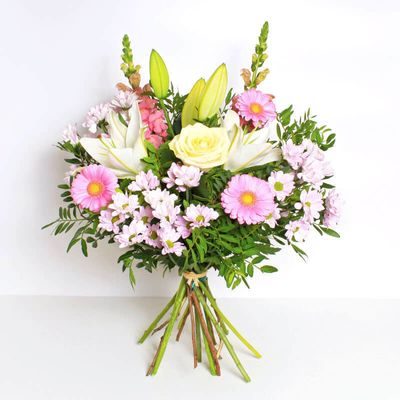 A sweet surprise that you can give to someone any day of the week. These beautiful Pure Pastels consist of gerberas, lilies, and roses make a great surprise gift for any occasion.