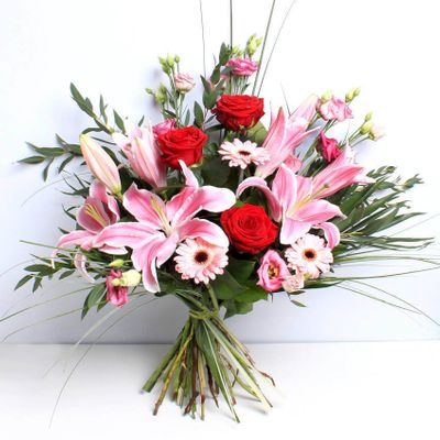 Wild About You bouquet demonstrates your feelings to a person to tell them how much you love them. It includes red roses, germini, oriental lilies and wild natural foliage.