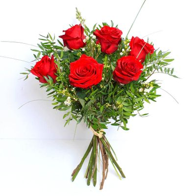 A simple yet ultimately romantic bouquet for the love of your life this Valentine's Day. Six gorgeous red roses hand tied with care and delivered with love.