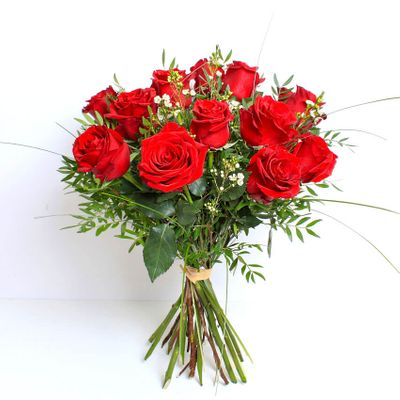 The classic Valentine's bouquet of twelve red roses is as popular as ever. These beautiful velvety red roses speaks love and devotion like no other flower can!
